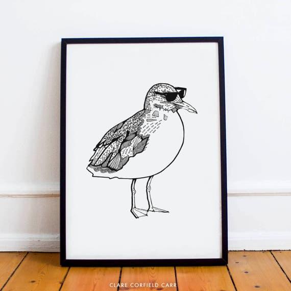Cooles Mowe Poster Lustige Vogel Poster Ray Ban Schwarz Etsy