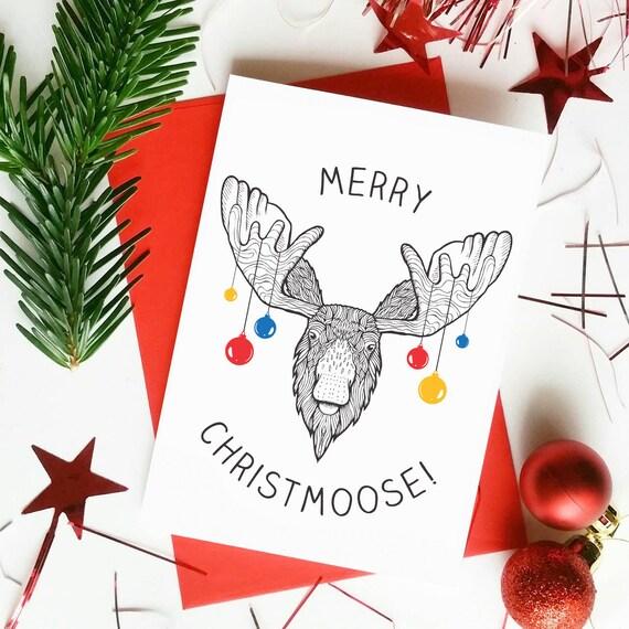 Christmas Puns.Funny Christmas Card Christmas Puns Funny Moose Card Baubles