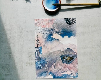 Abstract Watercolor Fine Art Print Giclée Modern Collage Mixed Media Winter Landscape Painting Sumie Ink Painting Wabisabi
