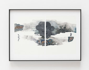 Original Watercolor Painting Abstract Set of Two  8 x 10inch Mixed Media Collage Winer Storm Wabisabi Landscape Brush Wall Art Blue Black