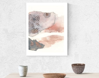 Abstract Watercolor Fine Art Print Giclée Modern Collage Mixed Media Soft Coral Landscape Butterfly Painting Sumie Ink Painting Wabisabi