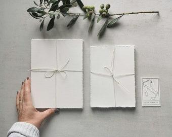 Handmade Paper Italian Cotton Rag 500gsm Deckle Edges Hand Cut Cold Press Rough Grain Artisan Scrapbooking