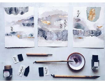 Original Art Abstract Watercolor Mixed Media Modern Collage Blue Hues Landscape Painting Brush Sumie Sum-ie