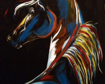 """Colorful Horse Painting - """"Dark Horse"""""""