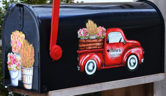 Day On The Farm Spring Magnetic Mailbox Cover Pick-up Truck Floral Standard