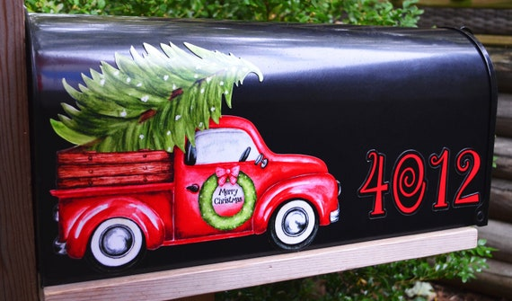 Partial Vintage Chevy Ford Truck Fall Mums Pumpkins Magnetic Mailbox Cover