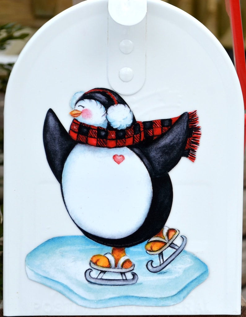 Mailbox Magnet Partial Cover Winter Penguin Lg /& Sm Better than a Decal Jumbo White Mail Box Personalized Post Decal Door Car Curb Appeal