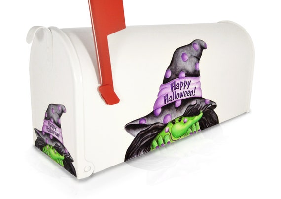 Polka Dotted Hat Upside Down Crashed Witch Magnetic Mailbox Cover Partial