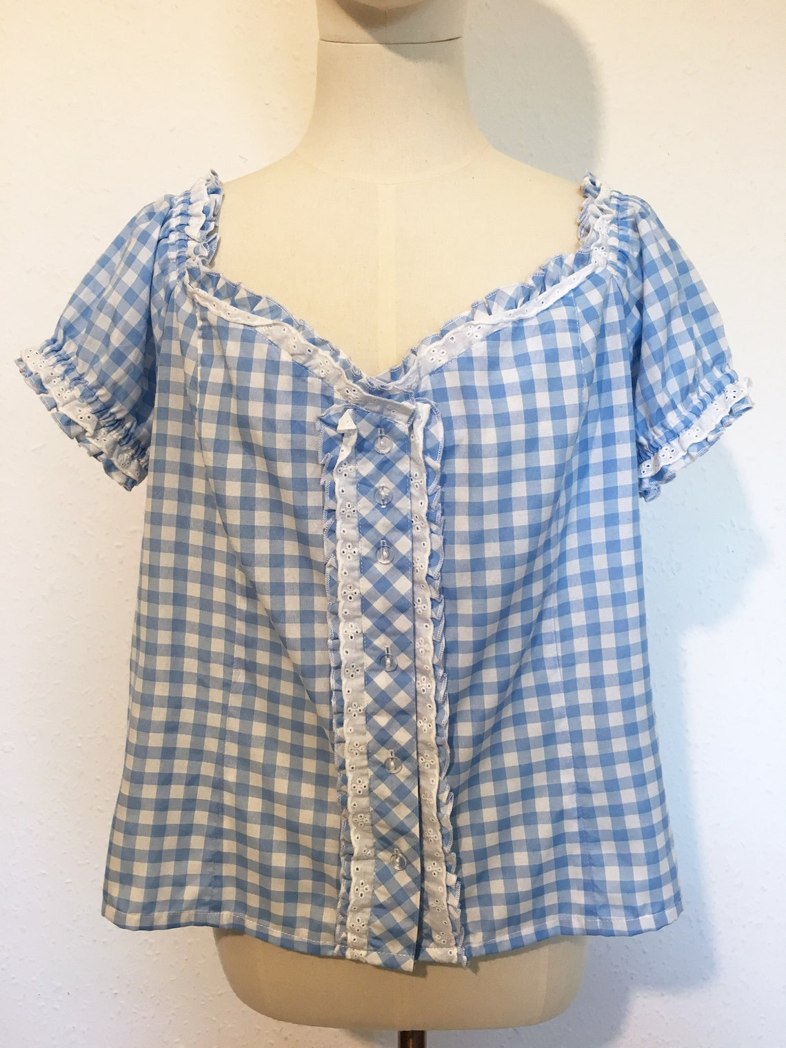 Size 18 Cute 1990s gingham dirndl blouse image 2