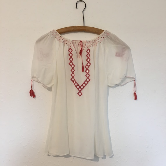 Size 8-10 Hand embroidered cheesecloth blouse