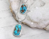 Turquoise layering necklaces, Handmade feminine necklace set, High quality turquoise cabochon gemstones, Fine jewelry gifts for women