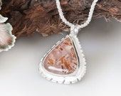 Handcrafted feminine agate necklace, Unique statement necklace gift for her, Rare agate gemstone, Feminine one of a kind pendants for women