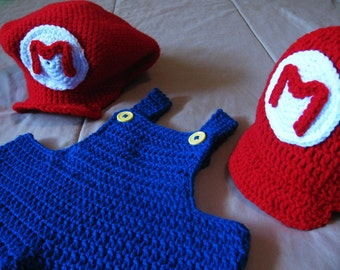 Super Mario Brothers Costume with Overalls and Hat - Baby or Toddler & Baby mario costume | Etsy
