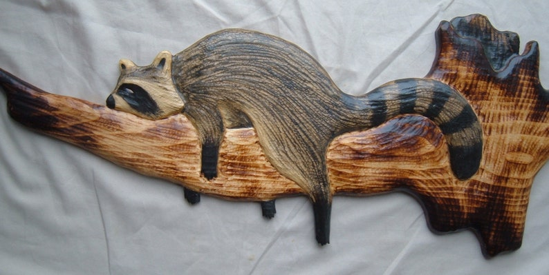 Wood carving raccoon chainsaw carving log cabin decor chainsaw etsy