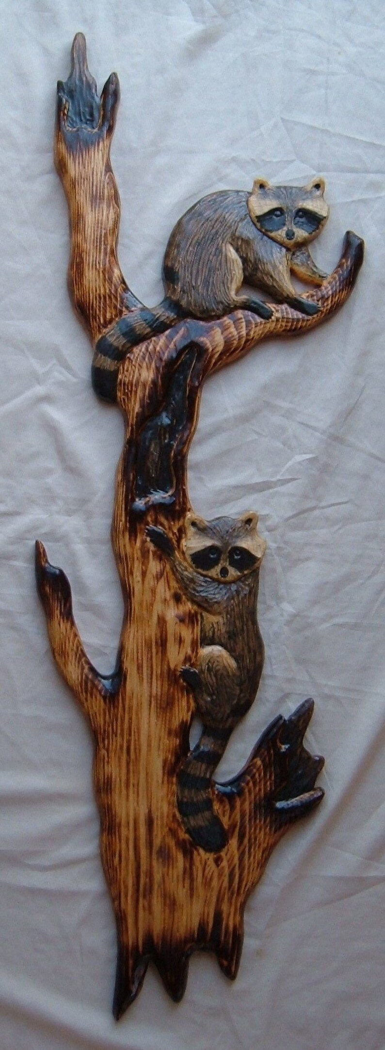 Chainsaw carving wood carving raccoon cabin decor bear wall etsy
