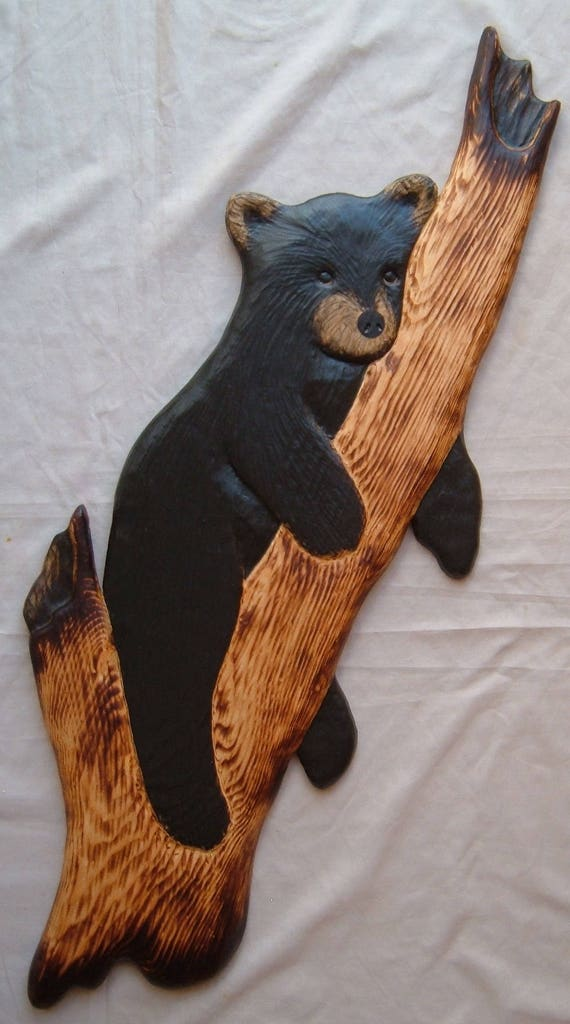 Wood  Carving RACCOON /& 2 BLACK BEAR Chainsaw Cabin Decor Wall Art  Carved cub