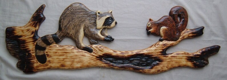 Chainsaw carving raccoon fox squirrel wood carving log cabin etsy