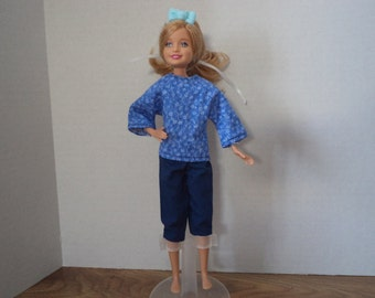Blue Pants and Top for 7 1/2 inch doll, Ready to Ship