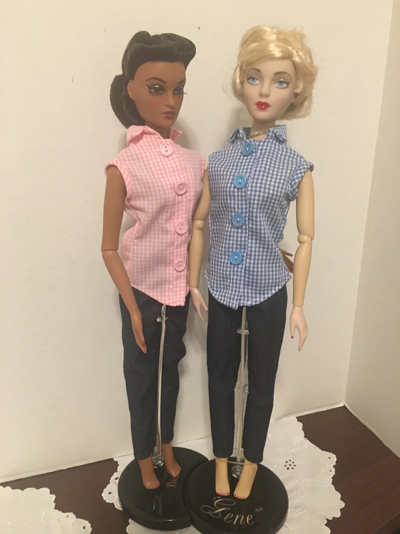 Gingham Blouse /& Denim Pants for Gene Tyler or Violet 15.5 inch Fashion Dolls