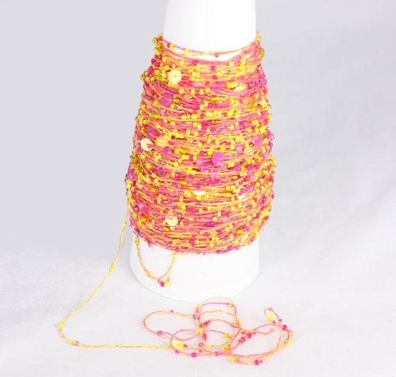 Caldo Luminoso Giallo Perlina Rosa Maglieria Cotone Etsy