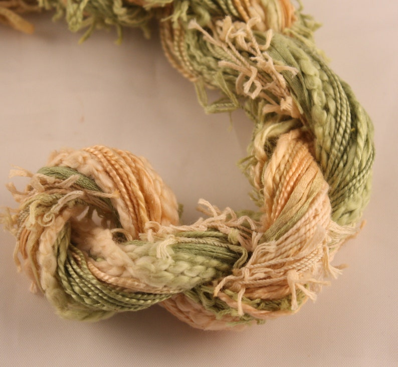 Leaf Green Peach hand dyed Thread weaving thread sewing quilting cotton Embroidery thread couching embellishment Waldorf doll hair
