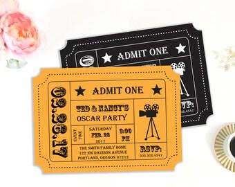 oscar party invitation movie night party movie ticket etsy