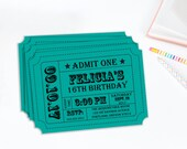 Carnival Ticket Invitation, Ticket Stub, Editable Invitation, Birthday Party, Editable PDF, Editable File, Instant Download,
