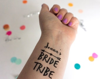 Bride Tribe Temporary Tattoos, Bachelorette Party, Custom Tattoo, Personalized Tattoo, Party Favor, Bachelorette Favor, Name Tattoo