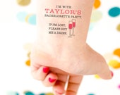 Bachelorette Tattoos, Champagne Tattoos If lost Buy Me A Drink,  Temporary Tattoos, Bachelorette Party Favor, Custom Tattoo,  Fake Tattoo