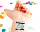 40th Birthday Temporary Tattoos, Flirty Forty, Fortieth Birthday Party,  Personalized Tattoos, Customized Tattoo Party Favors, Flirty Forty