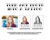 Bat Mitzvah Tattoo, Party Tattoo, Bat Mitzvah Favors, Custom Portrait, Head Tattoo, Face Tattoo, Bar Mitzvah, Custom Tattoo, Photo tattoo