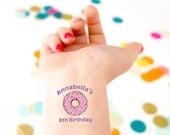 Donut Temporary Tattoos, Birthday Party, Donut Party, Kids Birthday, Donut Grow Up, Donut Theme, Personalized Tattoos, Custom Tattoo,