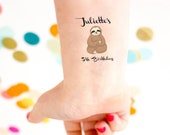 Sloth Tattoo, Birthday Party Tattoos, sloth party, kids birthday tattoo, custom tattoo, personalized tattoo, party favor, child birthday