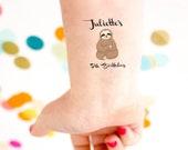Sloth Tattoo, Birthday Party Tattoos, sloth party, kids birthday tattoo, custom tattoo, personalized tattoo, party favor, child birthday