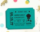 Printable Ticket Stub, Barbecue Invitation, BBQ Party, Family Reunion, Printable Invitation, Invitation Template, DIY Invitation,