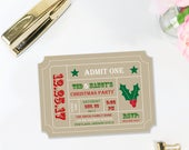 Holiday Christmas Ticket Invitation- DIY Digital File Printable - Retro Admission Ticket Stub-