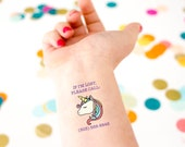 Emergency Tattoo, Safety Tattoo, Kids Tattoo, Unicorn Tattoo, If lost tattoo, Contact Information Tattoo, Custom Tattoo, Temporary Tattoo