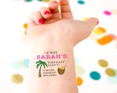 Tropical Birthday Temporary Tattoos,  Birthday Party Favor, If Lost, Buy Me a Drink, Custom Tattoos, Beach Birthday, Hawaiian Birthday