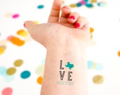 Texas Wedding Temporary Tattoo, Love Tattoo Customized Wedding Tattoo, Destination Wedding, State Silhouette, Love Statute, Wedding Favor