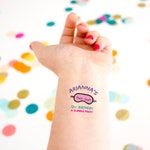 Slumber Party Birthday Tattoo, Kids Birthday, Temporary Tattoo, Custom Tattoo, Sleepover Birthday Party, Party Favor, Sleeping mask, girly
