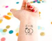 Wedding Temporary Tattoos, Wedding Initials, Wedding Date Tattoo,  Wedding Ring, Customized Tattoo, Personalized Tattoo Wedding Party Favors
