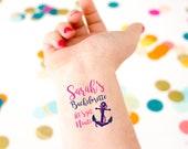 Let's Get Nauti! Bachelorette Tattoos, Beach Bachelorette, Nautical Bachelorette, Bride Crew, Nauti Bachelorette Custom Tattoos, Party Favor