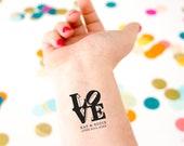 Love Sculpture Temporary Tattoos, Pack of Custom Tattoo Wedding Favors, New York, Philadelphia Weddings