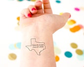 Texas Temporary Tattoo, Customized with Couple's Names & Wedding Date, Texas Wedding, Destination Wedding, Gift Bag Swag, Wedding Favor
