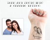 Photo Temporary Tattoo, Wedding Tattoo, Wedding Favors, Custom Portrait, Head Tattoo, Face Tattoo, Couple Tattoo, Bride Tattoo, Groom Tattoo
