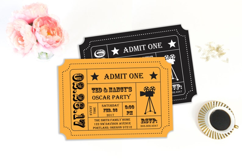 photo regarding Printable Movie Ticket Invitation called Oscar Get together Invitation, Video Evening Social gathering, Video Ticket, Ticket Stub, Ticket Invitation, Invitation Template, Printable Invitation, Editable