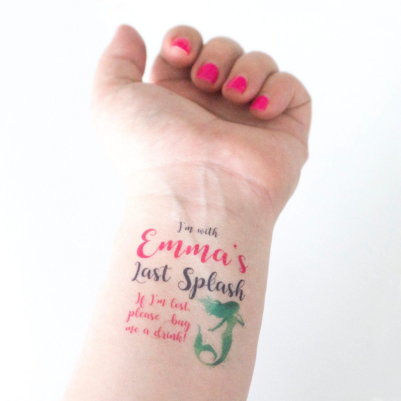 Last Splash Bachelorette Temporary Tattoos Mermaid Party If | Etsy