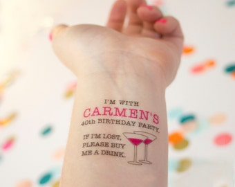 40th Birthday Temporary Tattoos, Forty Birthday Tattoo, If Lost, Buy Me a Drink Tattoo, Personalized Party Favors for a 40th Birthday Party