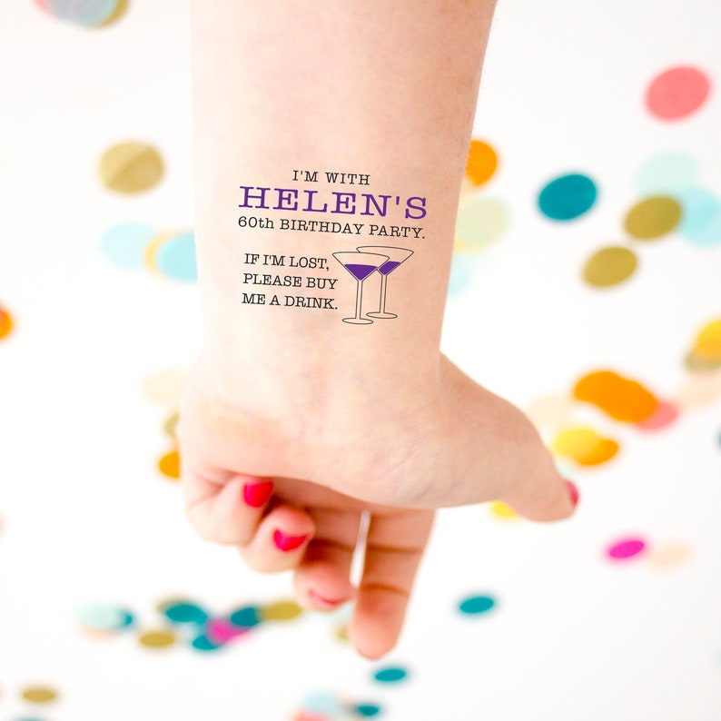 60th Birthday Party Custom Temporary Tattoos, If Lost, Buy Me a Drink  Tattoo, Personalized Tattoo Party Favors, Sixty, Sixtieth Birthday