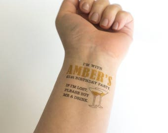 Gold 21st Birthday Tattoo, If I'm Lost, Buy Me a Drink, Temporary Tattoos, Gold Tattoo, Personalized Tattoo, Custom Tattoo, Party Favor